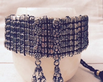 Old silver choker necklace - India