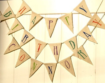 Custom Burlap Birthday Banner
