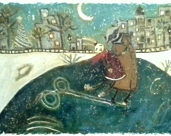 Skating in the Snow 5x7 Giclee Print