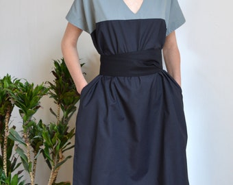 Light cotton dress with contrast pattern design