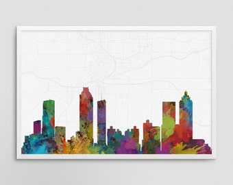 Atlanta Georgia Cityscape and Street Map Watercolor Art Print Office or Home Wall Decor