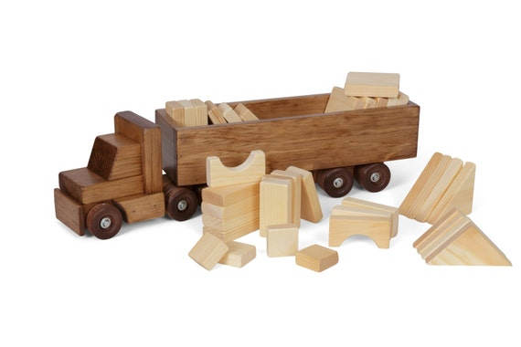 Retro Toys Children S Wooden Toy Block Tractor And