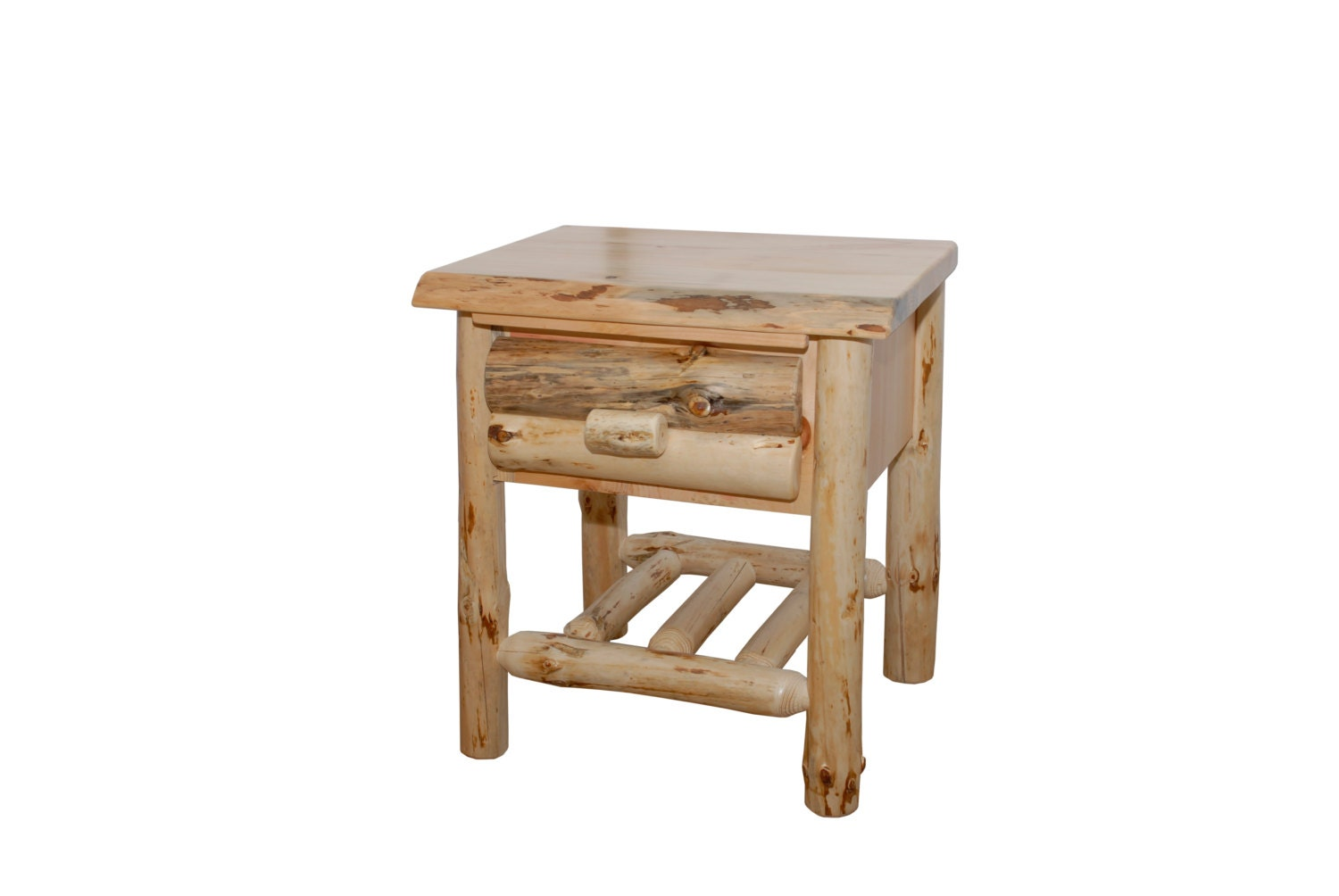 rustic pine log end table side table night stand with. Black Bedroom Furniture Sets. Home Design Ideas