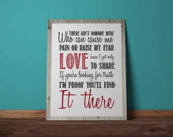 Ain't No Man, The Avett Brothers, Love, typography, Wall Print, Lyric Art, Instant Download