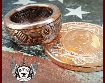 "BEN FRANKLIN "" Bank note Collectors series""  1 oz Handcrafted .999 Pure Copper Coin Ring."
