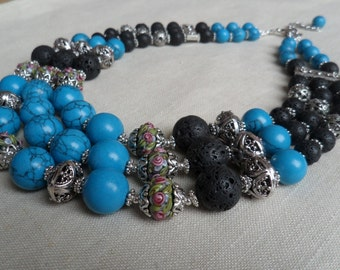 Natural  Blue Turquoise Necklace with lamp work beads.