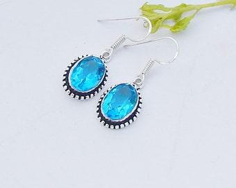 Blue Topaz Gemstone 925 Sterling silver Dangle Earrings Jewelry, Artisan Design Gift Earrings, Birthstone Gift Earrings