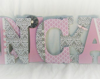 Girls nursery letters, custom wall letters, gray and pink letters, hanging letters for nursery, girls room decor, pink and grey nursery