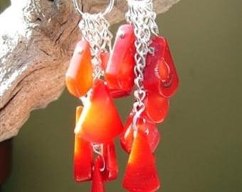 Red Coral Tear Earrings