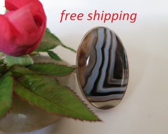 Silver black onyx ring, size 8.5; 92.5 sterling silver