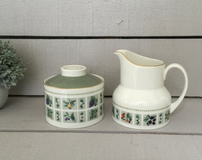 Royal Doulton Fine Bone China Sugar and Creamer in the Tapestry Pattern