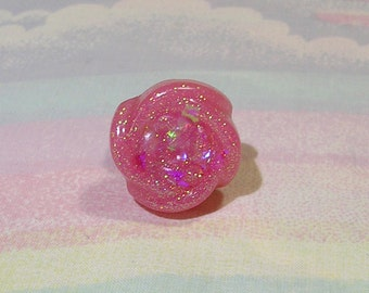 Glitter Rose Ring, Holographic Rose Ring, Pastel Goth Ring, Fairy Kei Ring, Lolita Jewelry, Glitter Ring, Red Rose Ring