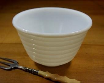 Vintage GE Milk Glass Mixing Bowl, Small Beehive Bowl, 1950's Kitchen Bowl, Serving Bowl
