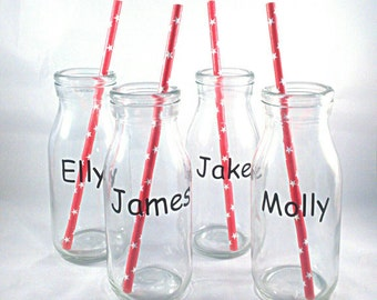 Four milk bottles, personalised bottle, party favour,  child's birthday party,  gift for children, milk bottle, vintage milk bottles