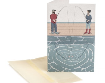 Valentines day card. Fishing Couple. For fishers. For him. For her.