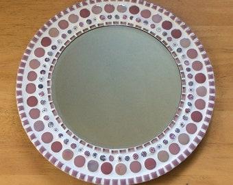 Round Mosaic Wall Mirror in Pink - 30cm - Bedroom Bathroom Mirror