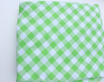 Vintage sheet double full green check with white border at top