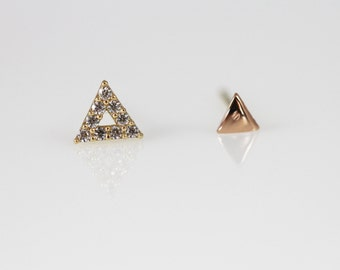 14K Solid gold minimalist earrings, 14k triangle earrings,gold triangle stud, mismatched stud earrings, mix and match stud, dainty earrings