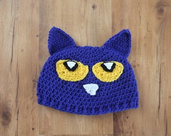 Pete The Cat Hat Inspired Hat, I Love My White Shoes, Blue Cat Hat, Crochet Cat Hat, Crochet Blue Hat, Pete the Cat, Pete the Cat Costume