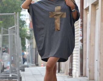 """Oversize Dark Gray Tunic, Casual Blouse With """"cross"""", Plus Size Loose Tunic, Extravagant Cotton Dress By SSDfashion"""