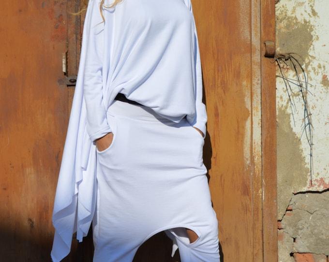 Womens White Drop Crotch Harem Pants, Extravagant Trousers, Maxi Pants, Casual Pants, Unisex Pants by SSDfashion