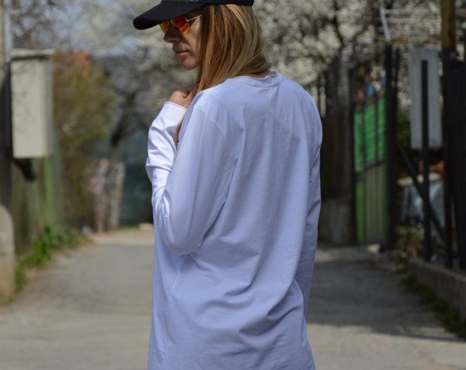 Extravagant Casual Loose Blouse, Asymmetric Ovesized Top, Maxi Blouse With Zippers, Extra Long Sleeves Top by SSDfashion