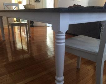 """Dark Walnut Modern Farm Table with 3.5"""" Legs"""