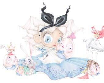 Alice wonderland pop surrealism rabbit art print