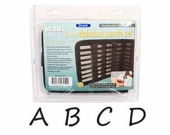 Metal Stamping Kit Handwritten 2mm Impression Beadsmith Uppercase Metal Stamps Alphabet Letters with Case PREORDER