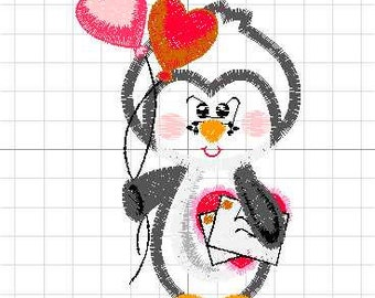 Penguin applique machine embroidery