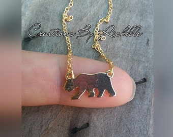 SALE....Dainty California Bear- Mama Bear Necklace