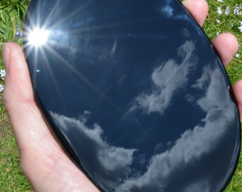Black obsidian  large scrying mirror, oval cut and polished flat obsidian mirror, 5.5 x 4 inches