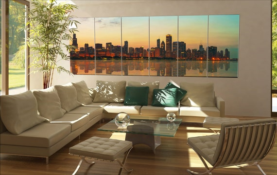 6 panels / boards Downtown Chicago, IL at sunset as seen from Lake Michigan Large panorama panoramic canvas wall art art