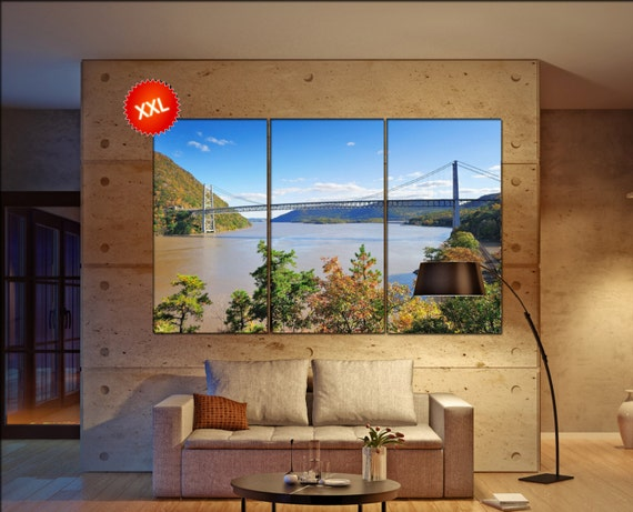 Bear Mountain with Hudson River  canvas wall art skyline Hudson River bridge wall decoration  wall decor canvas wall art art