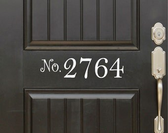 Cusotm Address Number Vinyl Door Decal - 23 color choices!