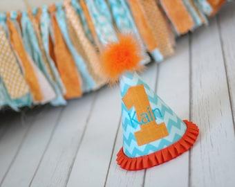Aqua Orange Party Hat - Aqua Chevron and Orange Birthday Party Cake Smash Outfit - First Birthday Hat