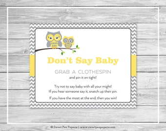Owl Baby Shower Don't Say Baby Game - Printable Baby Shower Don't Say Baby Game - Yellow Owl Baby Shower - Don't Say Baby - Owl Baby - SP133