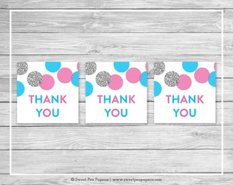 Pink and Blue Gender Reveal Favor Thank You Tags - Printable Gender Reveal Thank You Tags - Pink Blue Silver Gender Reveal - SP113