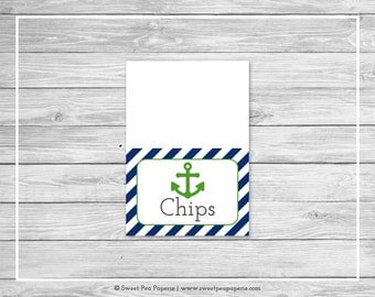 Nautical Baby Shower Buffet Labels - Printable Baby Shower Buffet Labels - Navy Green Baby Shower - Buffet Food Labels - EDITABLE - SP120