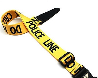 Art Attack Yellow Police Officer Line Do Not Cross Tape Cop Jacguard Weave Music Electric Acoustic Bass Guitar Ukulele Strap