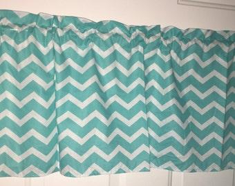 Aqua and white chevron handmade curtain valance