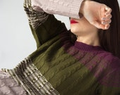 the Glitch in Khaki -knitted sweater (multi coloured cable knit plait pullover)