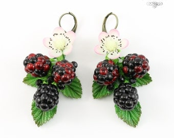 Exclusive piecework Blackberry Eaarrings, Blackberry drop earrings, Polymer clay blackberry, Original Blackberry earrings, Forest earrings