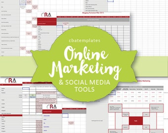 Complete ONLINE MARKETING Tool Kit - 8 spreadhseets and 1 doc - editable & immediate download