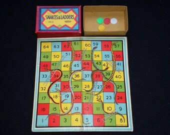 Vintage Snakes and Ladders Board Game. Family Fun Old Children's Game. Vintage Toy. Chutes and Ladders with Tiddly Wink Counters