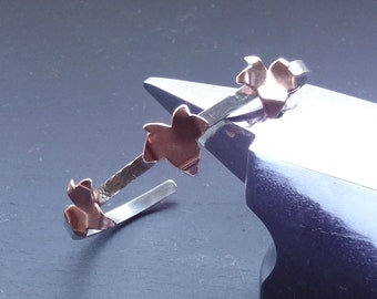 Sterling Silver hammered cuff bracelet bangle with copper ivy leaves