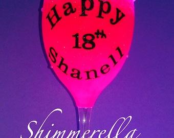 Happy birthday glitter glass