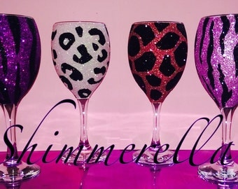 Animal print glitter glass