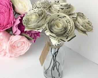 Flower arrangement of vintage music sheet paper flowers 6 rolled roses in bottle with blank gift tag, 1st anniversary gift idea