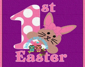 Bunny 1ST - Easter - Bunny Faces BOW SVG Cut File